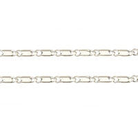 Brass Chain, silver color plated, bar chain, nickel, lead & cadmium free, 4.70x1.50x0.80mm, 100m/Lot, Sold By Lot