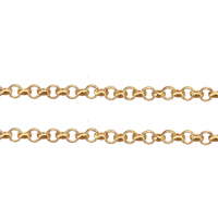 Brass Chain, gold color plated, rolo chain, nickel, lead & cadmium free, 1.50x0.50x0.30mm, 100m/Lot, Sold By Lot