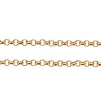 Mosiądz Łańcuch, Platerowane w kolorze złota, Rolo łańcucha, bez zawartości niklu, ołowiu i kadmu, 1.50x0.50x0.30mm, 100m/wiele, sprzedane przez wiele
