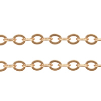 Brass Oval Chain, rose gold color plated, nickel, lead & cadmium free, 4.50x3.70x0.40mm, 100m/Lot, Sold By Lot