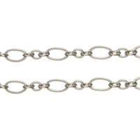 Brass Figaro Chain, platinum color plated, nickel, lead & cadmium free, 3x2.6x0.3mm, 6.4x3.4x0.4mm, 100m/Lot, Sold By Lot