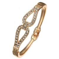 Zinc Alloy Bangle, gold color plated, with rhinestone, nickel, lead & cadmium free, 12x4mm, Inner Diameter:Approx 54x50mm, Length:Approx 6.5 Inch, Sold By PC