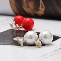 Double Faced Stud Earring, 925 Sterling Silver, with Resin Pearl, plated, more colors for choice, 15.90x24.40mm, 5Pairs/Lot, Sold By Lot