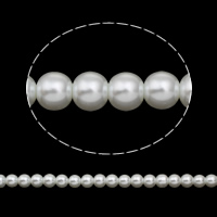 Glass Pearl Beads, Round, different size for choice, white, Hole:Approx 1mm, Length:Approx 31.4 Inch, Sold By Bag