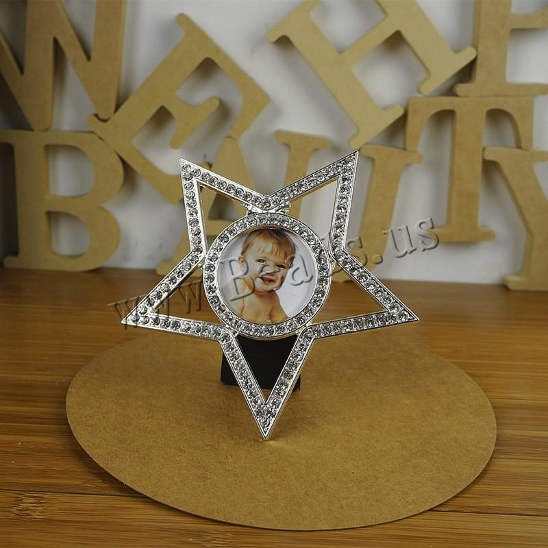 цинковый сплав рамка для фотографии, с Бархат, Звезда, плакирован серебром, со стразами, не содержит свинец и кадмий, 130x130mm,