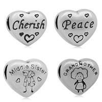 Stainless Steel European Beads 316L Stainless Steel Heart different designs for choice   without troll   blacken 11x12mm Hole:Approx 4mm 10PCs/Bag