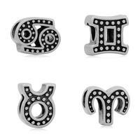 Stainless Steel European Beads 316L Stainless Steel zodiac jewelry   different styles for choice   without troll   blacken 10-12mm Hole:Approx 4mm 10PCs/Bag