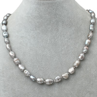 Natural Freshwater Pearl Necklace brass lobster clasp Baroque grey 8-9mm Sold Per Approx 16.5 Inch Strand