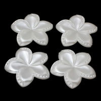 ABS пластик жемчужина основа под кабошон, Форма цветка, белый, 48x47x5mm, внутренний диаметр:Приблизительно 1mm, Приблизительно 165ПК/сумка, продается сумка