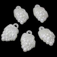 ABS пластик жемчужина подвеска, Виноград, белый, 16x27x11mm, отверстие:Приблизительно 1mm, Приблизительно 301ПК/сумка, продается сумка