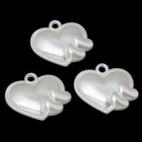 ABS пластик жемчужина подвеска, Сердце, белый, 37x33x9mm, отверстие:Приблизительно 3mm, Приблизительно 124ПК/сумка, продается сумка
