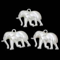 ABS пластик жемчужина подвеска, Слон, белый, 36x26x10mm, отверстие:Приблизительно 1mm, Приблизительно 144ПК/сумка, продается сумка