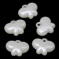 ABS пластик жемчужина подвеска, бабочка, белый, 20x17x8mm, отверстие:Приблизительно 2mm, Приблизительно 391ПК/сумка, продается сумка