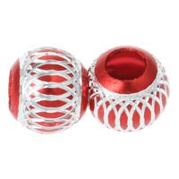 Alumiini helmiä, Drum, elektroforeesi, kukka leikkaus, punainen, 13x11.5mm, Reikä:N. 2mm, 100PC/laukku, Myymät laukku