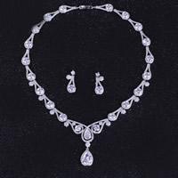 Cyrkonia mikro utorować Zestawy biżuterii mosiądz, kolczyk & naszyjnik, Łezka, Platerowane platyną, mikro utorować cyrkonia, przejrzysty, bez zawartości niklu, ołowiu i kadmu, 45mm, 25x10mm, długość:około 15.5 cal, sprzedane przez Ustaw