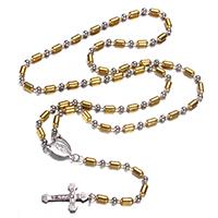 Четки Ожерелье, нержавеющая сталь, Инсус крест, Другое покрытие, христианское ювелирное изделие & мяч цепь & двухцветный, 4mm, 8.2x4mm, 13.5x18x1.5mm, 17.5x30x2.5mm, длина:Приблизительно 25 дюймовый, 10пряди/Лот, продается Лот