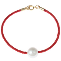 Freshwater Cultured Pearl Bracelet Freshwater Pearl with Nylon Cord brass spring ring clasp with 5cm extender chain Round natural white 10-11mm Sold Per Approx 7 Inch Strand