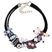 шнур ожерелье, Искусственная кожа, с Горный хрусталь глины проложить шарик & Кристаллы & деревянный & цинковый сплав & Акрил, с 3.5lnch наполнитель цепи, Другое покрытие, 3-нить & граненый, 40mm, длина:Приблизительно 18.9 дюймовый, 3пряди/Лот, продается Лот