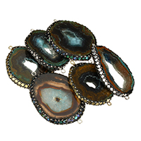 Druzy Connector Ice Quartz Agate with Rhinestone Clay Pave   Abalone Shell   Brass plated natural   druzy style   mixed   1/1 loop 47-55x30-41x5-7mm Hole:Approx 2mm 5PCs/Lot