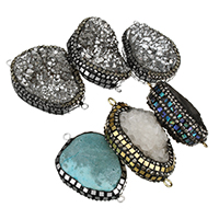 Druzy Connector Ice Quartz Agate with Rhinestone Clay Pave   Abalone Shell   Brass plated natural   druzy style   mixed   1/1 loop 43-52x25-31x11-20mm Hole:Approx 2mm 5PCs/Lot