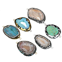 Druzy Connector Ice Quartz Agate with Rhinestone Clay Pave   Abalone Shell   Brass plated natural   druzy style   gold foil and silver foil   mixed   1/1 loop 54-67x28-39x10-14mm Hole:Approx 3mm 5PCs/Lot