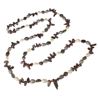 Natural Freshwater Pearl Long Necklace, Keishi, multi-colored, 9-10mm, Sold Per Approx 44 Inch Strand