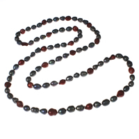 Natural Freshwater Pearl Long Necklace, Baroque, two tone, 9-10mm, Sold Per Approx 44 Inch Strand