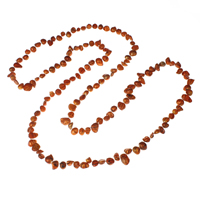 Natural Freshwater Pearl Long Necklace, Baroque, reddish orange, 4-8mm, Sold Per Approx 42.5 Inch Strand