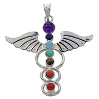 Gemstone Pendants Jewelry, Zinc Alloy, with Gemstone, Angel Wing Cross, platinum color plated, natural & blacken, lead & cadmium free, 55x6mm, Hole:Approx 5x7mm, Sold By PC