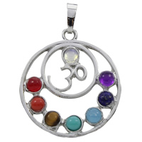 Gemstone Pendants Jewelry, Zinc Alloy, with Gemstone, Flat Round, platinum color plated, natural & with om symbol, lead & cadmium free, 31x35x5mm, Hole:Approx 5x7mm, Sold By PC