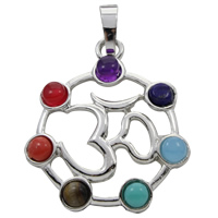 Gemstone Pendants Jewelry, Zinc Alloy, with Gemstone, OM Symbol, platinum color plated, natural, lead & cadmium free, 28x33x5mm, Hole:Approx 5x7mm, Sold By PC