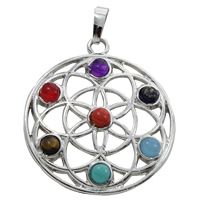 Gemstone Pendants Jewelry, Zinc Alloy, with Gemstone, Flat Round, platinum color plated, natural, lead & cadmium free, 35x39x4.50mm, Hole:Approx 5x7mm, Sold By PC