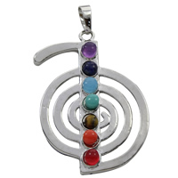 Gemstone Pendants Jewelry, Zinc Alloy, with Gemstone, platinum color plated, natural, lead & cadmium free, 32x45x7mm, Hole:Approx 5x7mm, Sold By PC