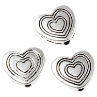 Zinc Alloy Heart Beads, antique silver color plated, lead & cadmium free, 11x10.50x3mm, Hole:Approx 1mm, Approx 70PCs/Bag, Sold By Bag