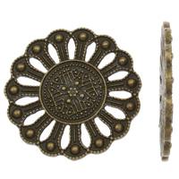 Ювелирные кабошоны из цинкового сплава, цинковый сплав, Форма цветка, Покрытие под бронзу старую, плоской задней панелью, не содержит свинец и кадмий, 28x2mm, Приблизительно 25ПК/сумка, продается сумка