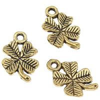 Zamak Clover Hanger, Zinc Alloy, Four Leaf Clover, antiek goud plated, lood en cadmium vrij, 10x15x2mm, Gat:Ca 1.5mm, 100G/Bag, Verkocht door Bag