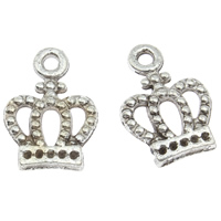 Zinc Alloy Pendant Rhinestone Setting Crown antique silver color plated lead   cadmium free 10x14x2mm Hole:Approx 1.5mm Inner Diameter:Approx 1mm 100G/Bag