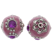 Indonesia Beads, Zinc Alloy, with Indonesia, antique silver color plated, with rhinestone, lead & cadmium free, 20x21mm, Hole:Approx 1mm, Sold By PC