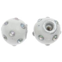 Индонезия бусины, с цинковый сплав, Цилиндрическая форма, со стразами, белый, 13x14mm, отверстие:Приблизительно 3mm, продается PC