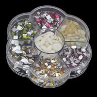 Стразы клеевые, Кристаллы, с пластиковая коробка, Форма цветка, прозрачный & плоской задней панелью & граненый, смешанных цветов, 103x17mm, продается Box