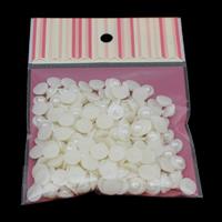 ABS пластик жемчужина кабошон, с OPP, Форма цветка, плоской задней панелью, белый, 10x4mm, 50ПК/сумка, продается сумка
