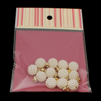 ABS пластик жемчужина подвеска, с OPP & Латунь, Круглая, плакирован золотом, разный размер для выбора & со стразами, белый, отверстие:Приблизительно 2mm, 12ПК/сумка, продается сумка