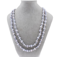 Natural Freshwater Pearl Long Necklace, Baroque, two tone, 3-4mm, 5-8mm, Sold Per Approx 47 Inch Strand