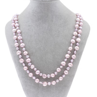 Natural Freshwater Pearl Long Necklace, Baroque, pink, 3-5mm, 7-8mm, Sold Per Approx 55 Inch Strand