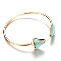 Zinc Alloy Cuff Bangle, with Turquoise, gold color plated, lead & cadmium free, 65mm, Inner Diameter:Approx 60mm, Length:Approx 7 Inch, Sold By PC