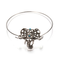 Zinc Alloy Bangle Elephant antique silver color plated with resin rhinestone lead   cadmium free 65mm Inner Diameter:Approx 60mm Length:Approx 7 Inch