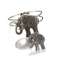 Zinc Alloy Bracelet Ring, Elephant, antique silver color plated, lead & cadmium free, 65mm, Inner Diameter:Approx 63mm, US Ring Size:6, Length:Approx 7.5 Inch, Sold By PC