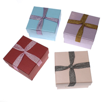 Cardboard Jewelry Set Box, finger ring & necklace, with Sponge & Organza, Square, more colors for choice, 78x53mm, 10Bags/Lot, 12PCs/Bag, Sold By Lot