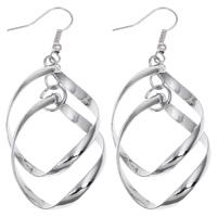 Klaring Fashion Earring, Ijzer, platinum plated, lood en cadmium vrij, 25x62x5mm, Verkocht door pair
