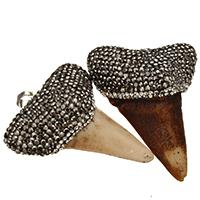 Bone wół Wisiorek, ze Glina & Mosiądz, Ząb, Platerowane w kolorze platyny, naturalny, dostępnych więcej kolorów, 42x52x19mm, otwór:około 5x8mm, 5komputery/wiele, sprzedane przez wiele